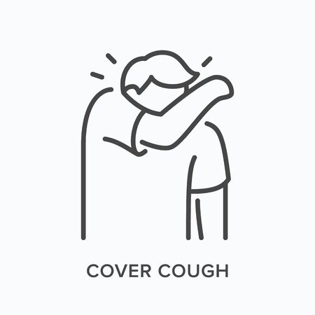 Coughing person line icon. Vector outline illustration of man sneezing in elbow. Symptom of influenza