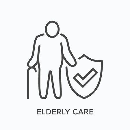 Elderly citizen care line icon. Vector outline illustration senior man medical insurance protection. Nursing home Векторная Иллюстрация