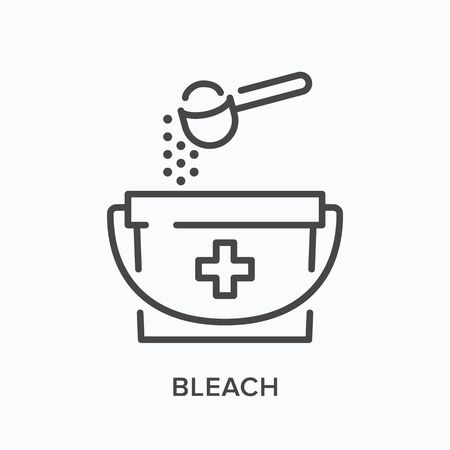 Chlorine sanitizing line icon. Vector outline illustration of bucket and spoon. Antibacterial bleach cleaning pictogram Vector Illustratie