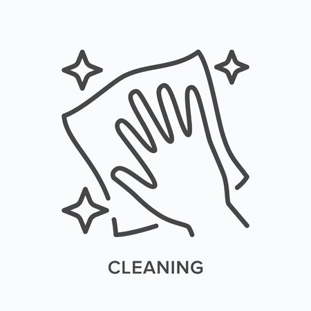 Hand cleaning icon. Vector outline illustration of wipe polish handling. Dust free zone pictogram