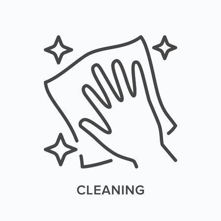 Icône de nettoyage à la main. Illustration de contour vectoriel de la manipulation du vernis à essuyer. Pictogramme de zone sans poussière