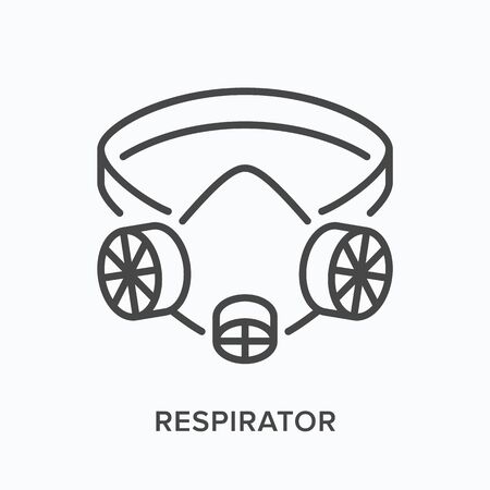 Industrial respirator line icon. Vector outline illustration of dust, gas and smoke protection mask. Protective supply with valve pictogram