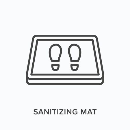 Sanitizing mat line icon. Vector outline illustration of antibacterial equipment. Industrial shoe disinfection pictorgam Vettoriali