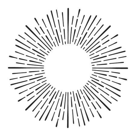 Sunburst doodle line art. Hand drawn sun burst, round banner with circle explosion. Retro sketch radial rays, black frame isolated on white background. Handmade design element Vector Illustration