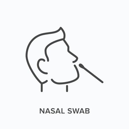 Nasal swab line icon. Vector outline illustration of viral exam. Head and virus test pictorgam