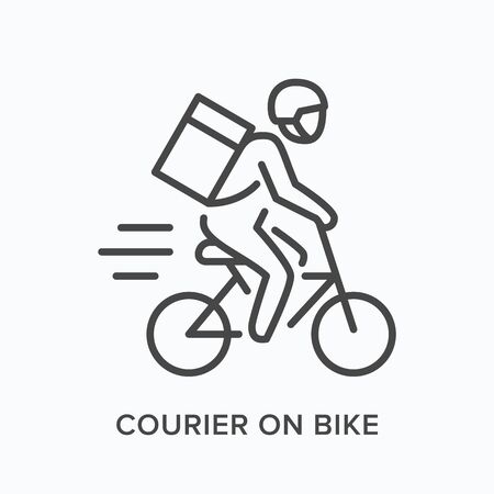 Courier on bike line icon. Vector outline illustration of express delivery. Bicycle pizza guy pictorgam.