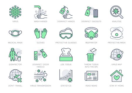 Coronavirus, virus prevention line icons. Vector illustration include icon - wash hands disinfection, face mask, sanitizer gloves outline pictogram for infographic Green Color, Editable Stroke Vecteurs