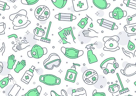 Disinfection green seamless pattern. Vector background included line icons as aerosol, sanitizer,wet cleaning, protection mask pictogram for antibacterial housekeeping Vettoriali