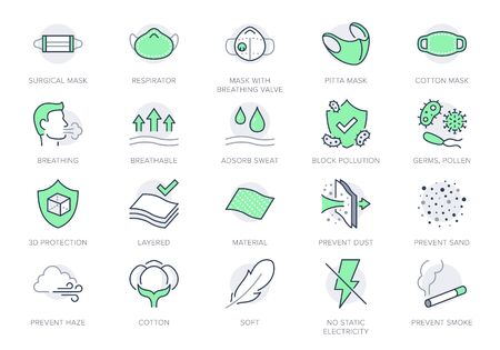 Medical masks line icons. Vector illustration included icon - n95 respirator mask, external influence protection, breathable outline pictogram, material properties Green Color, Editable Stroke Vetores