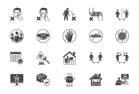 Coronavirus prevention flat icons. Vector illustration include icon - social distance, quarantine violation, incubation period, stay home black silhouette pictogram for medical infographic