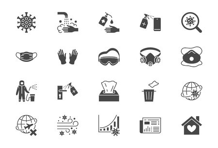 Coronavirus, virus prevention flat icons. Vector illustration include icon - wash hands disinfection, face mask, sanitizer gloves black silhouette pictogram for infographic
