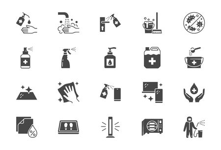 Disinfection flat icons. Vector illustration included icon as spray bottle, floor cleaning mop, wash hands gel, autoclave uv lamp black silhouette pictogram for housekeeping