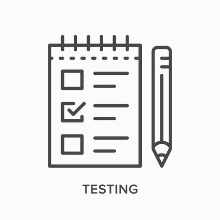 Testing line icon outline illustration of paper and pencil. Иллюстрация