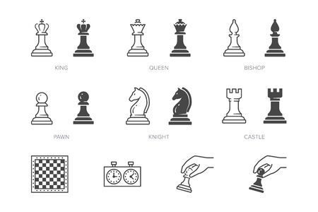 Chess piece line icon. Vector outline illustration of pawn, knight, queen, bishop, horse, rook. Checkmate board pictogram