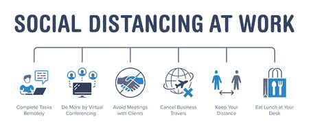 Social distancing at work poster with flat line icons. Vector illustration included icon as avoid handshakes, virtual conference, remote job pictogram. Medical, healthcare business blue infographics. Иллюстрация