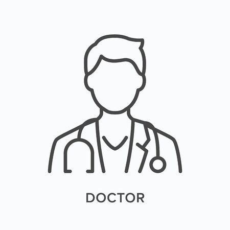Doctor flat line icon. Vector outline illustration of male physician in coat with stethoscope. Medic specialist avatar, thin linear medical pictogram.
