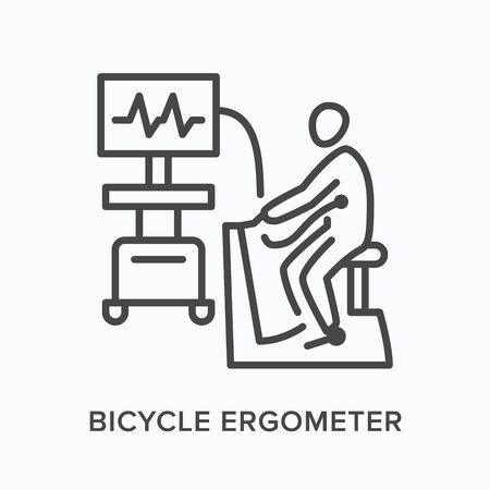 Bicycle ergometer flat line icon. Vector outline illustration of man doing stress test on cycle machine. Cardiovascular, cardiology thin linear medical pictogram