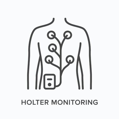 Holter monitor flat line icon. Vector outline illustration of man with electrodes on body. Cardiovascular, cardiology thin linear medical pictogram