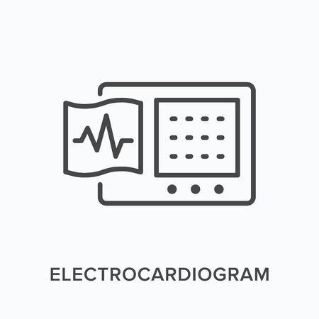 Ecg flat line icon. Vector outline illustration of electrocardiogram. Cardiology equipment thin linear medical pictogram Illustration