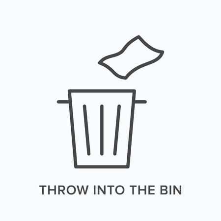 Throw trash into the bin flat line icon. Vector outline illustration of napkin and garbage can. Waste recycle thin linear pictogram