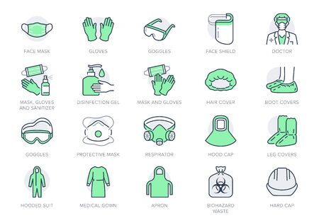 Medical PPE line icons. Vector illustration included icon as face mask, gloves, doctor gown, hair cover, biohazard waste, outline pictogram of protective equipment. Editable Stroke, Green Color Ilustración de vector