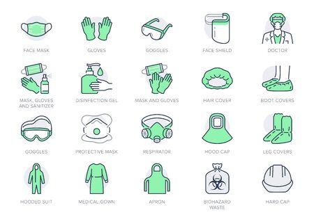 Iconos de línea de PPE médico. La ilustración del vector incluye el icono como mascarilla, guantes, bata de médico, cubierta para el cabello, residuos de riesgo biológico, pictograma de contorno del equipo de protección. Trazo editable, color verde Ilustración de vector