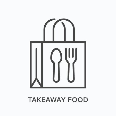 Ready food delivery line icon. Vector outline illustration of takeaway lunch service. Daily meal in papr bag with fork and spoon pictorgam