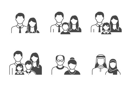 Family with kids, people avatar flat icons. Vector illustration included icon as man, female head, muslim, senior, families and old couple human face black silhouette pictogram for user profile