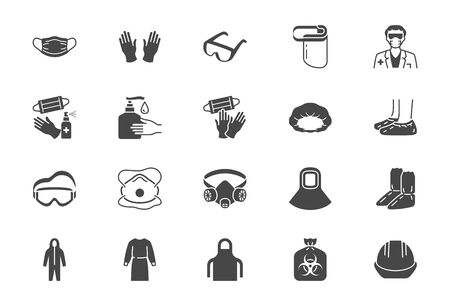 Medical PPE flat icons. Vector illustration included icon as face mask, gloves, doctor gown, hair cover, biohazard waste, respirator N95, shield black silhouette pictogram of protective wear