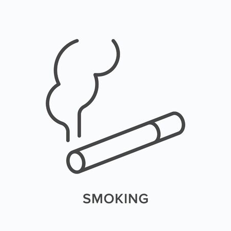 Smoking flat line icon. Vector outline illustration of cigarette with smoke. Tobacco shop thin linear pictogram Çizim
