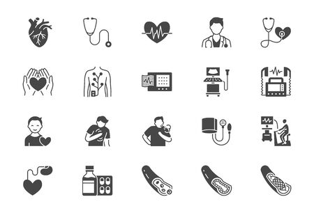 Cardiology flat icons. Vector illustration included icon as heart attack, ecg monitor, doctor, pacemaker, defibrillator, atherosclerosis black silhouette pictogram for medical cardiovascular clinic Vektorgrafik
