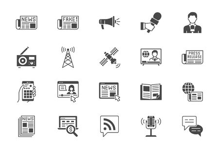 News flat icons. Vector illustration included icon as newspaper, mass media, journalist, fake, television broadcasting, blog influencer, podcast black silhouette pictogram for online press Çizim