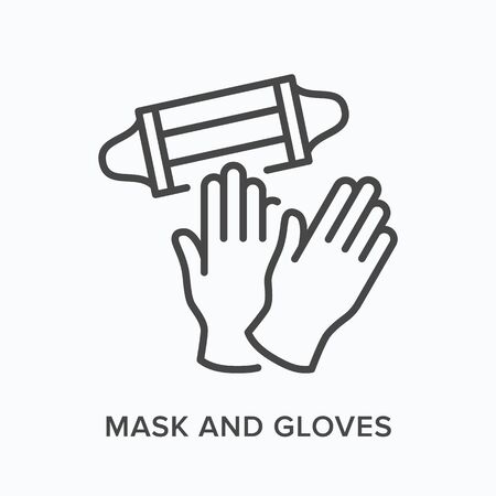 Face mask and gloves flat line icon. Vector outline illustration of coronavirus PPE. Medical safety wear thin linear pictogram Ilustración de vector
