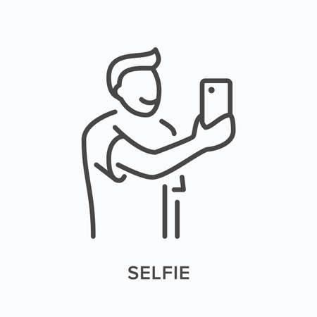 Selfie flat line icon. Vector outline illustration of young man taking self photo on mobile phone camera. Happy person holding smartphone in hand thin linear pictogram  イラスト・ベクター素材