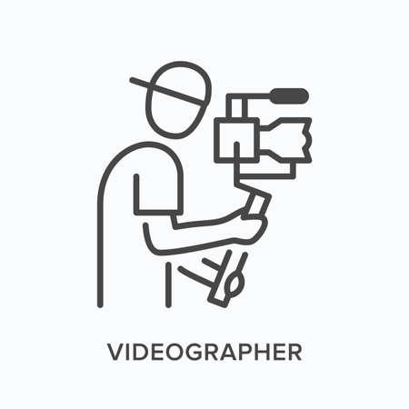 Video blogger flat line icon. Vector outline illustration of camera man, videographer holding steadicam. Photographer thin linear pictogram Vektorové ilustrace
