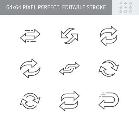 Reverse line icons. Vector illustration included icon as swap, flip, currency exchange, switch, repeat replace outline pictogram of two circle arrows. 64x64 Pixel Perfect Editable Stroke Ilustración de vector