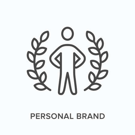 Personal brand flat line icon. Vector outline illustration of leadership, winner in laurel wreath. Hero, best employee thin linear pictogram Vectores