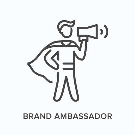 Brand ambassador flat line icon. Vector outline illustration of leadership, hero with megaphone. Influence thin linear pictogram Vectores