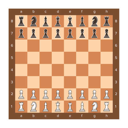 Chess board with piece setup flat clip art.