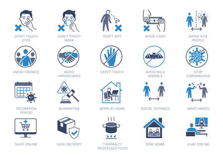 Coronavirus prevention flat icons. Vector illustration include icon - social distance, quarantine violation, incubation period, stay home blue silhouette pictogram for medical infographic