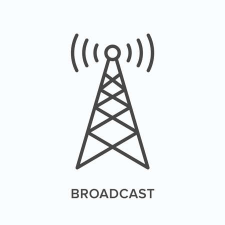 Broadcast flat line icon. Vector outline illustration of communication tower. Wireless signal thin linear pictogram Vector Illustration