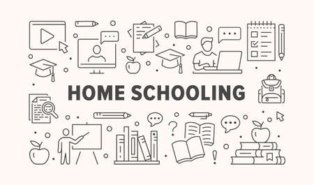 Online Education poster with line icons.