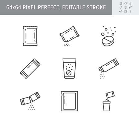 Sachet line icons. Vector illustration included icon as sugar powder packet, soluble pill, effervescent effect outline pictogram for medicine. 64x64 Pixel Perfect Editable Stroke