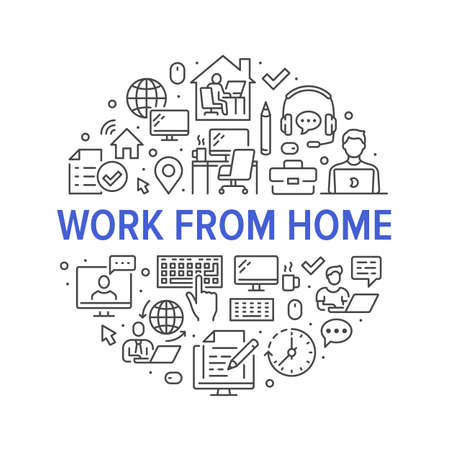 Work from home circle poster with line icons. Vector illustration included icon as freelance worker with laptop, workplace, pc monitor, business man outline pictogram for remote job flyer or brochure