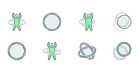 hoop line icons. Vector illustration included icon as happy child with hulahoop, fat man exercise outline pictogram for gym. Green color, Editable Stroke