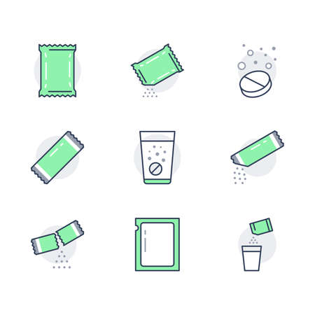 Sachet line icons. Vector illustration included icon as sugar powder packet, soluble pill, effervescent effect outline pictogram for medicine. Green color, Editable Stroke Vettoriali