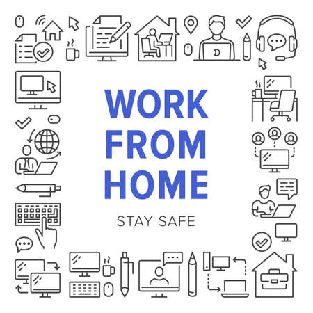 Work from home poster frame with line icons. Vector illustration included icon as freelance worker with laptop, workplace, pc monitor, business man outline pictogram for remote job flyer or brochure
