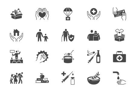 Charity, social worker glyph icons. Vector illustration included icon as donate food, humanitarian aid, pantry, homeless shelter outline pictogram for volunteer. Black color silhouette
