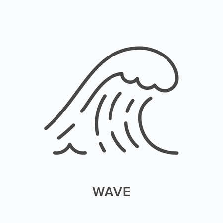 Wave flat line icon. Vector outline illustration of sea water, ocean storm. Surfing thin linear pictogram Illusztráció