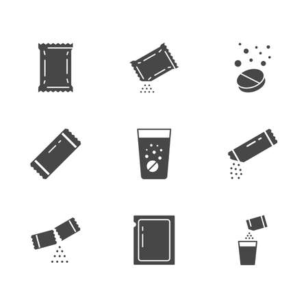 Sachet glyph icons. Vector illustration included icon as sugar powder packet, soluble pill, effervescent effect outline pictogram for medicine. Black color silhouette Vettoriali